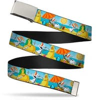 Blank Chrome  Buckle Olaf Summertime Beach Scenes Webbing Web Belt