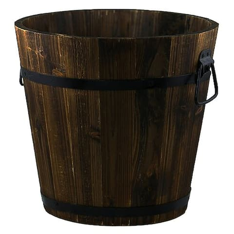 Your Choice Garden Wooden Whiskey Barrel Planter.