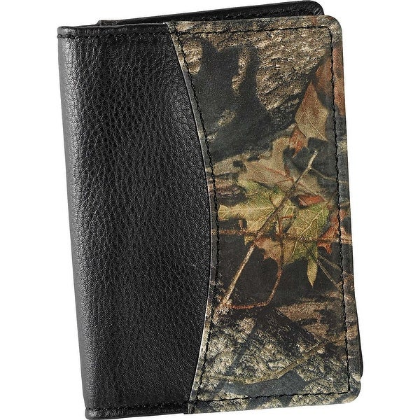 Legendary Whitetails Mens Mossy Oak Camo Black Leather Weekender Wallet - One size