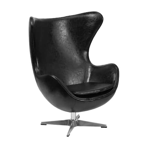 Offex Black Leather Egg Chair with Tilt-Lock Mechanism [OF-ZB-9-GG]
