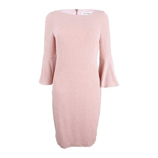 Calvin Klein Women's Petite Metallic Bell-Sleeve Sheath Dress - blush