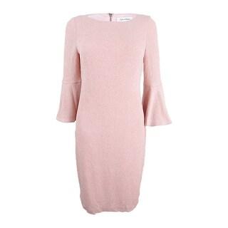 Calvin Klein Women's Plus Size Metallic Bell-Sleeve Sheath Dress - Blush