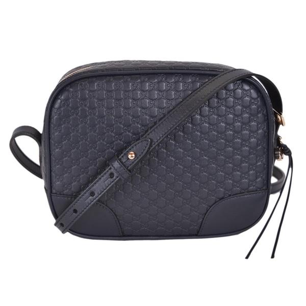 4a79630e3c2958 Gucci 449413 Navy Blue Leather Micro GG Guccissima Bree Crossbody Purse Bag  - Midnight Blue -