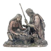 Baby Jesus Mary and Joseph with Lamb Nativity Sculpture