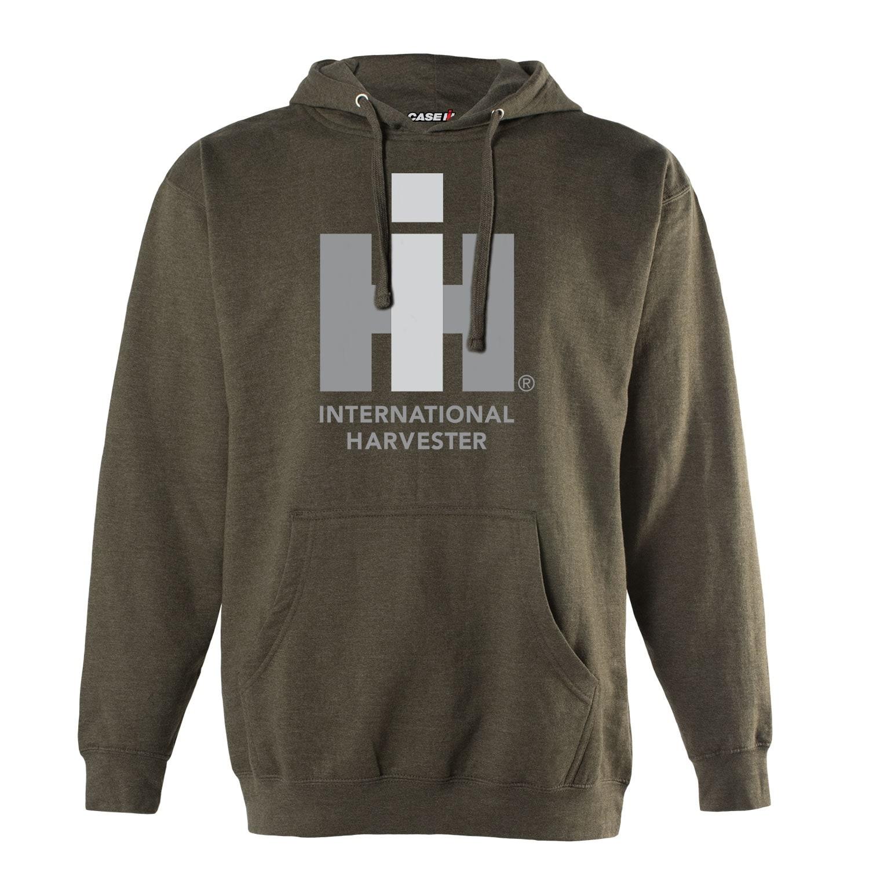 "International Harvester /""IH Logo Tone/"" Heather Olive Men/'s Pullover Hoodie"