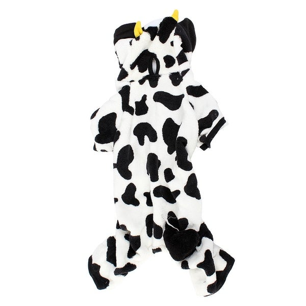 Unique Bargains Winter Warm Cow Printed Hoo Sleeved Pet Dog Yorkie Coat Clothes Costume Xl