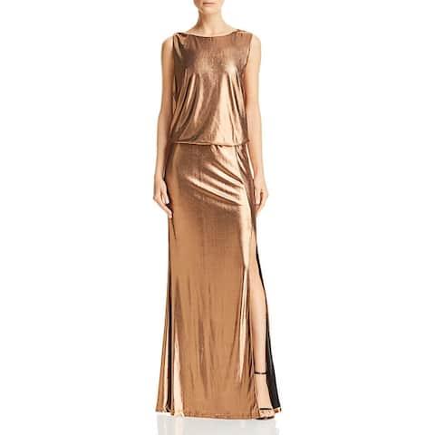 Rachel Zoe Womens Karen Evening Dress Metallic Blouson