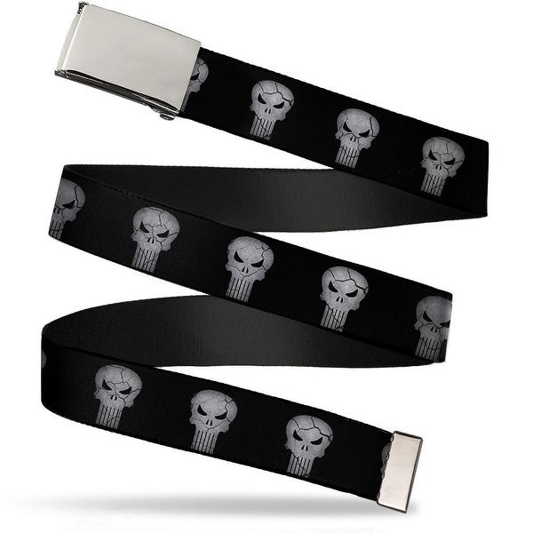 Blank Chrome Buckle Stone Punisher Logo4 Black Gray Webbing Web Belt - S