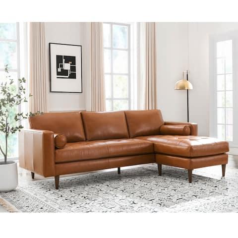 "Carson Carrington Dacke Leather Reversible Sofa Chaise - 101""Wx 63.5""Dx36""H"