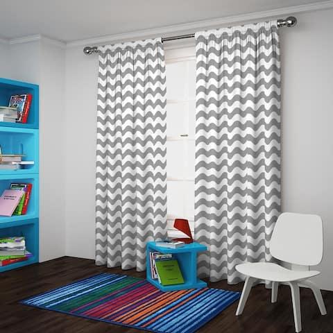 Eclipse Wavy Chevron Room Darkening Curtain Panel