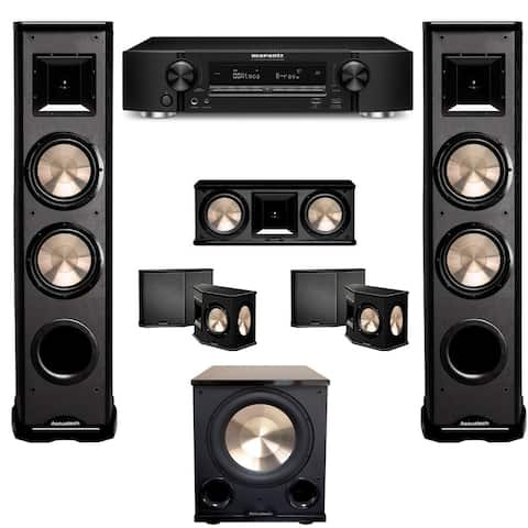 BIC Acoustech 5.1 Home Theater System with Marantz NR1608 Ultra-Slim 7.2 Channel Receiver and PL-200II Subwoofer