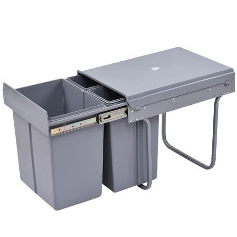 Costway Home Kitchen Pull Out Recycling Waste Bin Rubbish Trash
