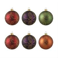 "6ct Glittered Earth Tone Shatterproof Christmas Ball Ornaments 3.25"" (80mm) - multi"