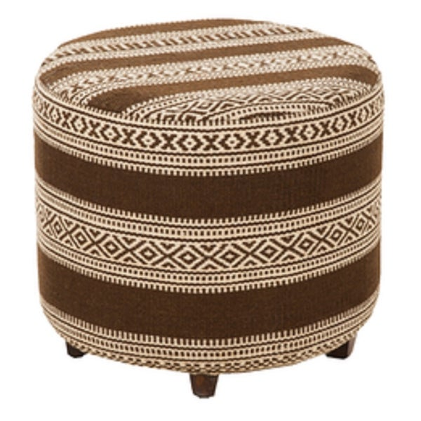"""20"""" Chocolate Brown and Light Beige Upholstered Wool and Wooden Foot Stool Ottoman - N/A"""