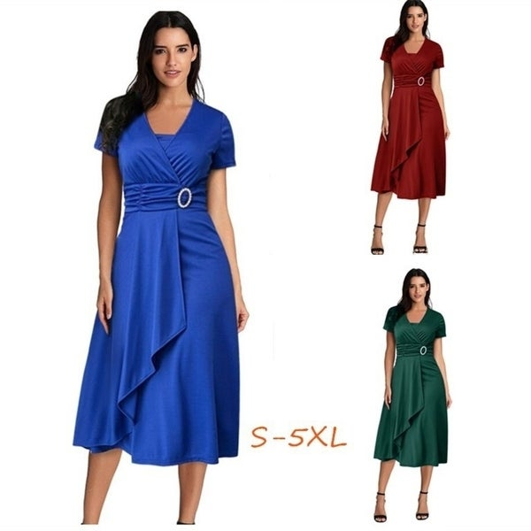 Asymmetrical Large Swing Women's High Waist Midi Dress Evening Dress. Opens flyout.
