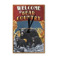 Welcome to Bear Country Vintage Sign LP Artwork (Acrylic Wall Clock) - acrylic wall clock