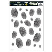 "Club Pack of 264 P.S.I Fingerprint Peel 'N Place Wall Cling Decorations 17"" - Black"