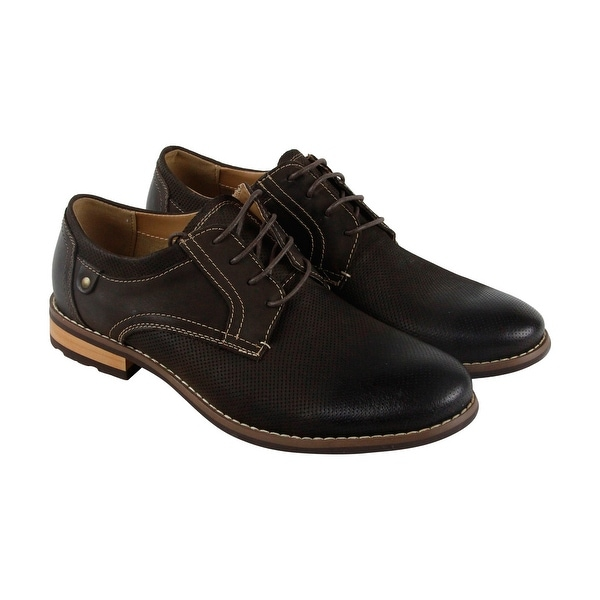 Steve Madden Cherp Mens Brown Leather Casual Dress Lace Up Oxfords Shoes