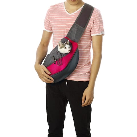 Pet Dog Carrier Backpack Adjustable Puppy Cat Shoulder for Outdoor Travel - Fuchsia
