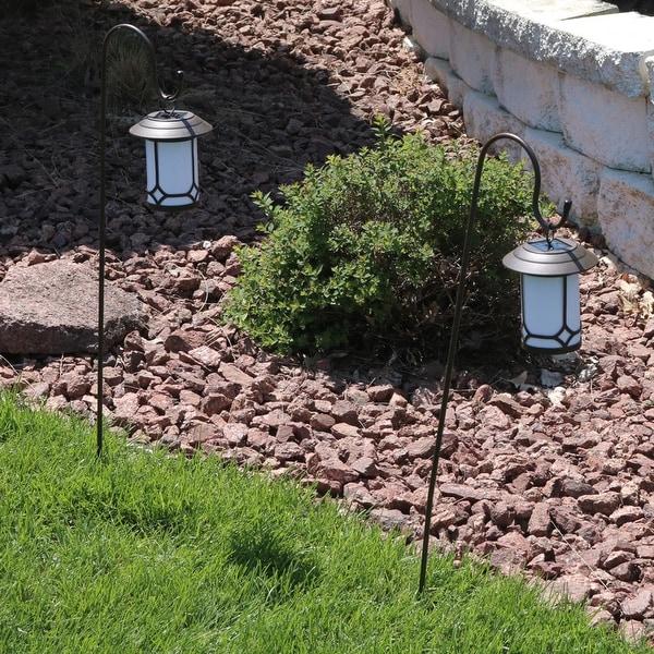 Sunnydaze Set of Two Traditional Outdoor Hanging Solar Lanterns & Shepherd Hooks