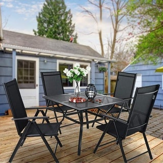 Link to PHI VILLA 5-PCS Dining Set of 4 Reclining Folding Sling Chairs and Powder-coated steel Table Similar Items in Outdoor Dining Sets