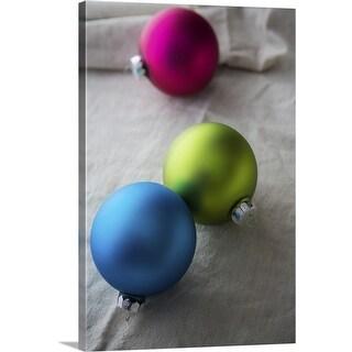 """Colorful Christmas ornaments"" Canvas Wall Art"