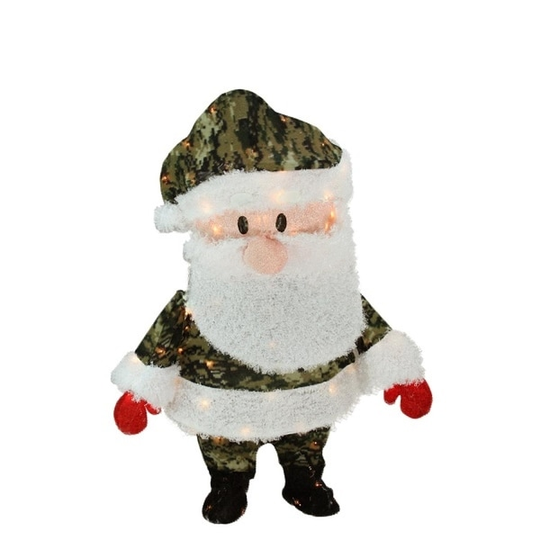 "32"" Pre-Lit Lane Camo Santa Claus Christmas Outdoor Decoration - Clear Lights - green"