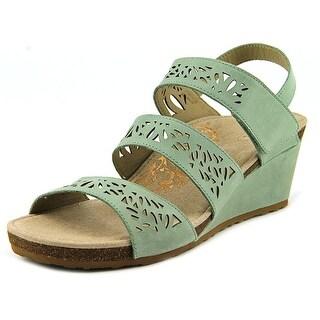 Aetrex Lexi Women Open Toe Leather Green Wedge Sandal