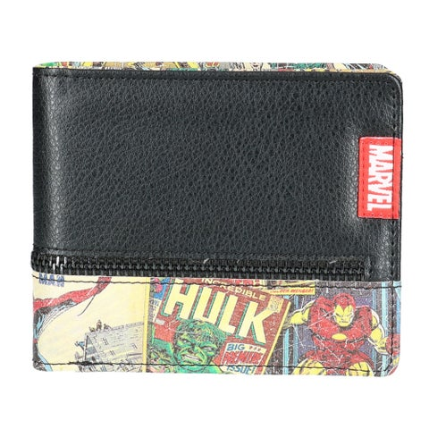 Marvel Men's Retro Comic Bifold Wallet with Zipper Pocket - One size