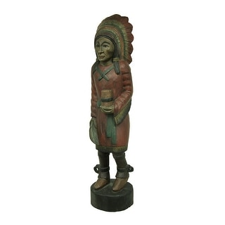39 in. Hand Carved Antique Finish Wooden Cigar Store Indian Statue