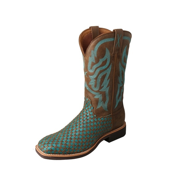 Twisted X Western Boots Womens Basketweave Top Hand Brown Turq