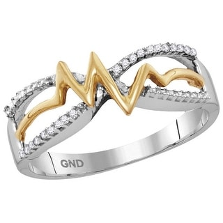 Sterling Silver Womens Round Natural Diamond Yellow-tone Heartbeat Band Fashion Ring 1/20 Cttw - White