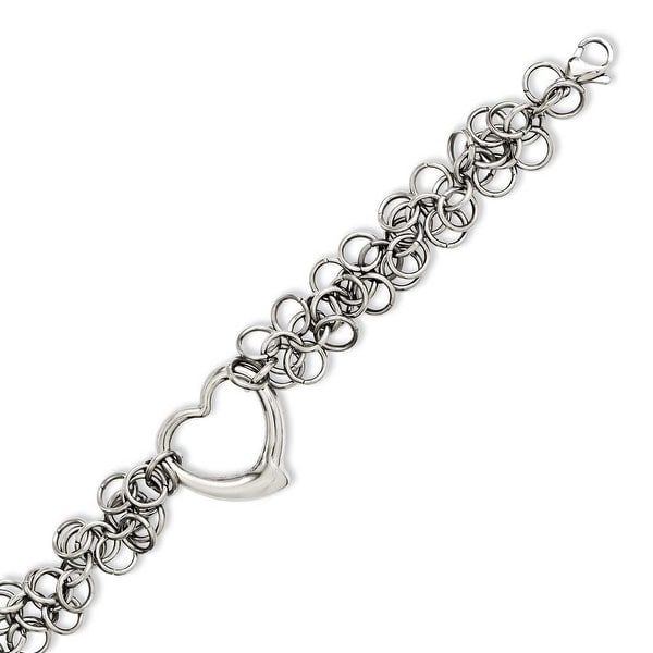 Chisel Stainless Steel Polished Circles with Heart 7.5in Bracelet