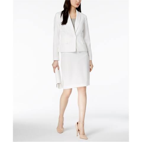 Le Suit Womens Herringbone One Button Blazer Jacket, White, 4