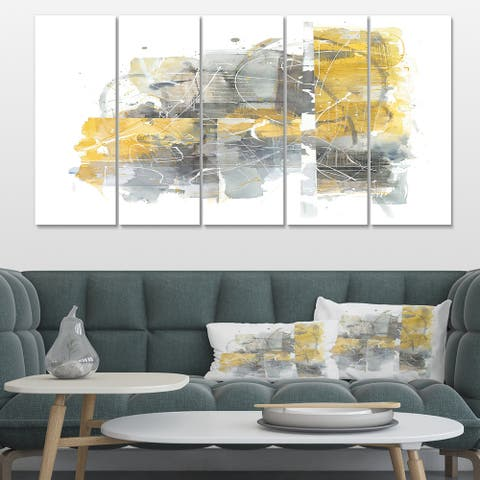 Designart 'Moving In and Out of Traffic II Yellow Grey' Geometric Canvas Artwork Print