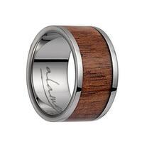 Titanium Flat Wedding Ring With Pink Ivory Inlay & Polished Edges -12MM