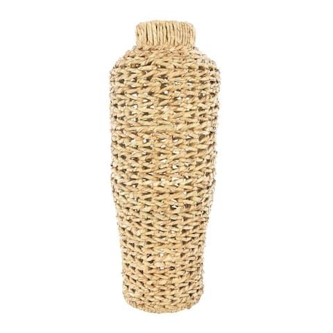 "22""H Handwoven Water Hyacinth & Rattan Floor Vase"