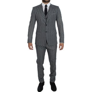 Dolce & Gabbana Blue Wool Owl Print Slim Fit 3 Piece Suit