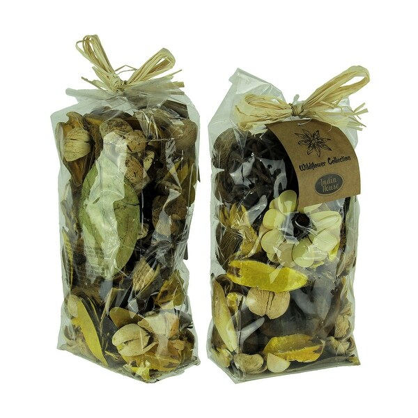 Double Bag Lot of Saffron Yellow and Brown Dried Botanical Decorative Filler - 9 X 4.5 X 3 inches