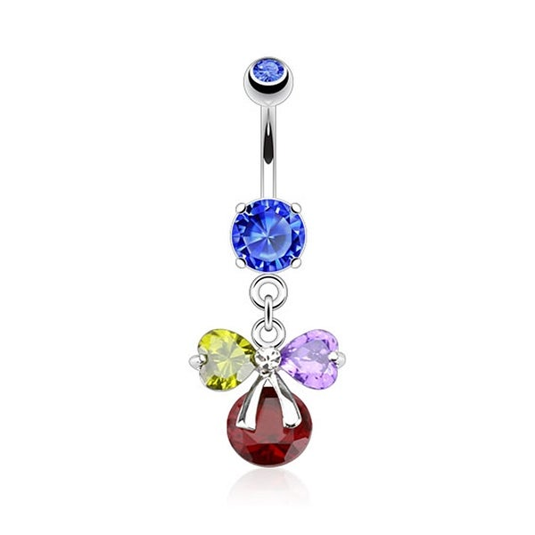 Ribbon with Multi Color Pronged Gems Navel Belly Button Ring 316L Surgical Steel (Sold Ind.)