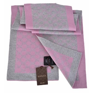 "Gucci 421068 Women's Grey and Pink GG Guccissima Scarf Muffler - 70"" x 9"""