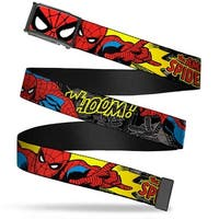 Marvel Comics Spider Man Face Close Up Fcg  Chrome Spider Man In Action Web Belt