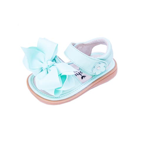 Mooshu Trainers Little Girls Green Squeaky Cute Bow Strap Sandals