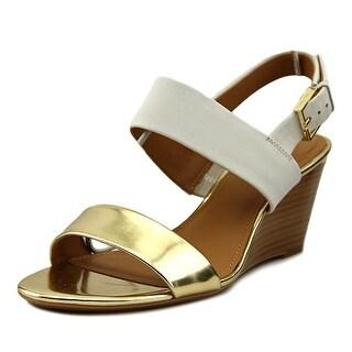 Calvin Klein Peony Women Open Toe Leather Gold Wedge Sandal