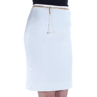 Womens Ivory Above The Knee Sheath Wear To Work Skirt Petites Size 0