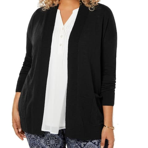 Charter Club Women's Sweater Black Size 1X Plus Open-Front Cardigan