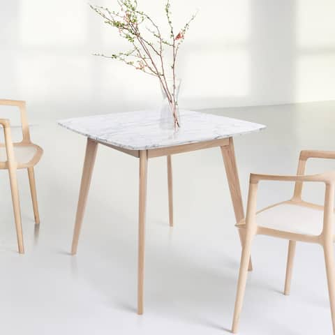 "Senna 31"" Square Italian Carrara White Marble Dining Table with Oak Legs - 31.5""L x 31.5""W x 29.5""H"