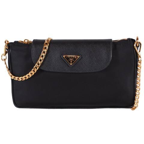 Prada 1BH085 Tessuto Nylon Leather Small Chain Crossbody Evening Bag Purse