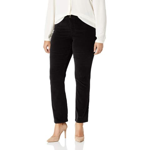 NYDJ Black Womens Size 24W Plus Marilyn Straight Leg Velvet Jeans