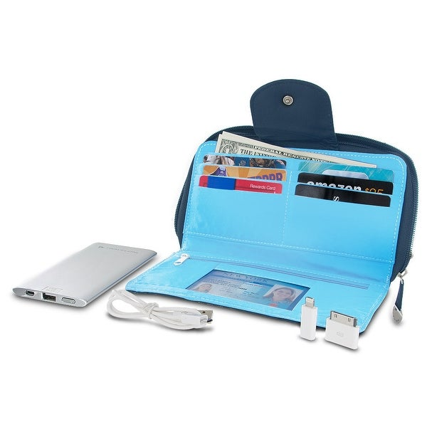 Travelon 316480 RFID Blocking Clutch Wallet With 5000mAh Power Bank - Navy